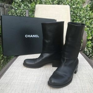 RARE Chanel Black Lambskin Leather Boots Size 41